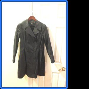 DKNY Coated Trench Coat Dark Navy Blue Size Small